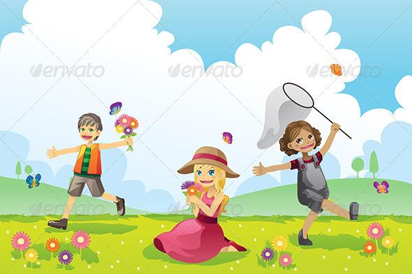 GraphicRiver Happy Children in Spring Season 5974068