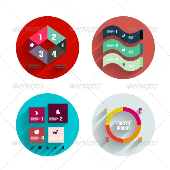 Infographic Inside Colorful Circles Flat Icon Set