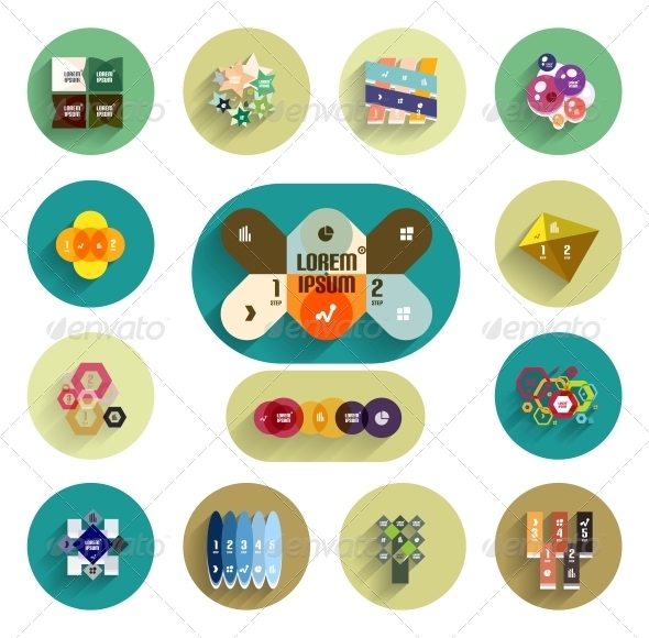 GraphicRiver Infographic Inside Colorful Circles Flat Icon Set 5974144