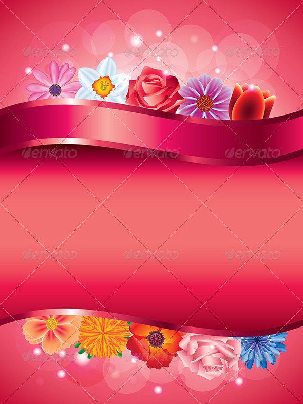 GraphicRiver Flowers Vertical Vector Background 5974582