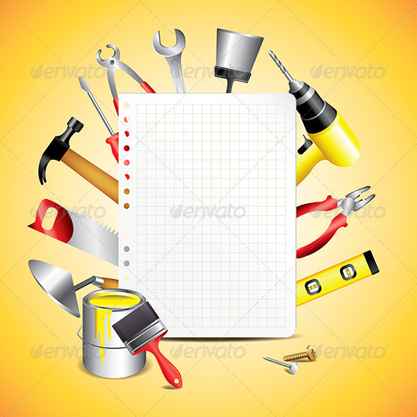 GraphicRiver Construction Tools with Blank Paper 5974586