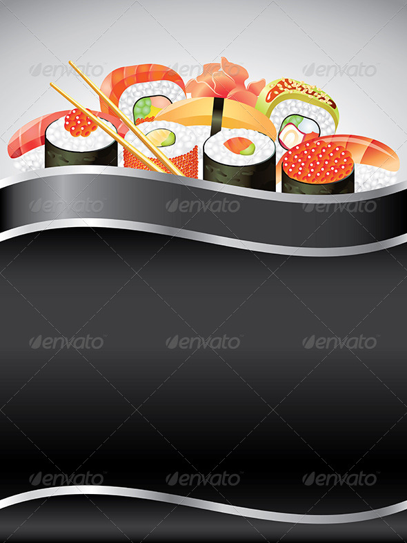 GraphicRiver Sushi on Black Vertical Background 5974635