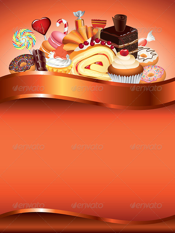 GraphicRiver Cakes and Candies Vector Background 5974642