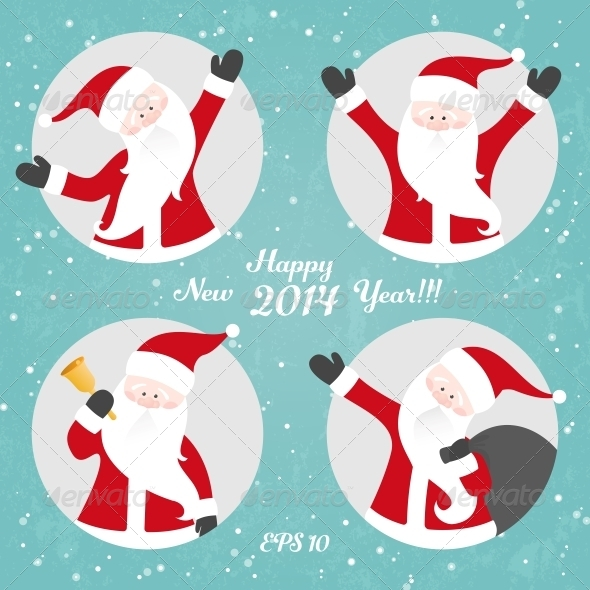 GraphicRiver Vector Christmas Set with Santa 5975146