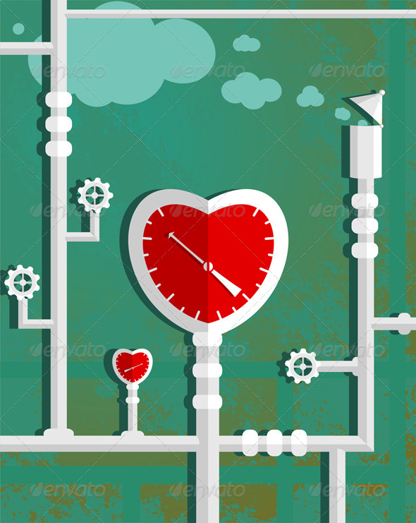 GraphicRiver Love Heart Shape Steam Mechanism 5976496