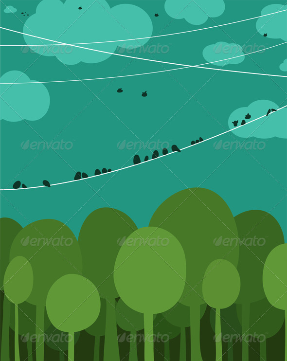 GraphicRiver Forest and Birds Sitting on Wires 5976501