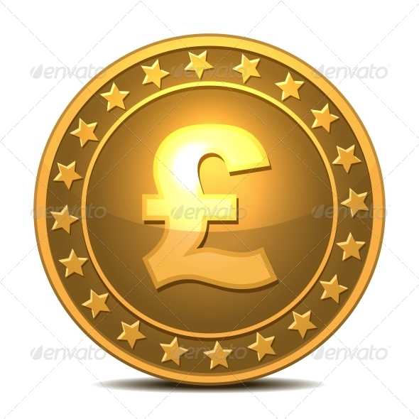 GraphicRiver Gold Coin with Pound Sterling Sign 5976560