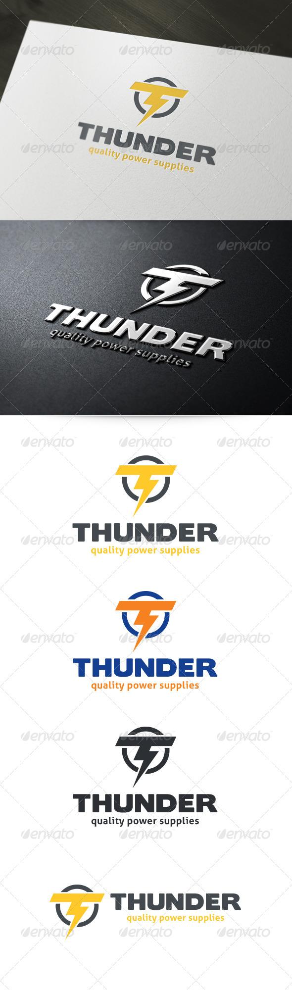 Letter T Thunder Logo