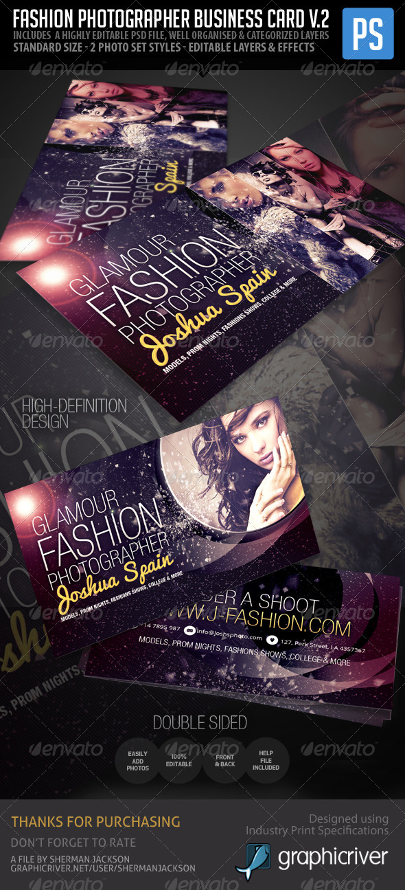 GraphicRiver Fashion Photographer Business Card V.2 5976987
