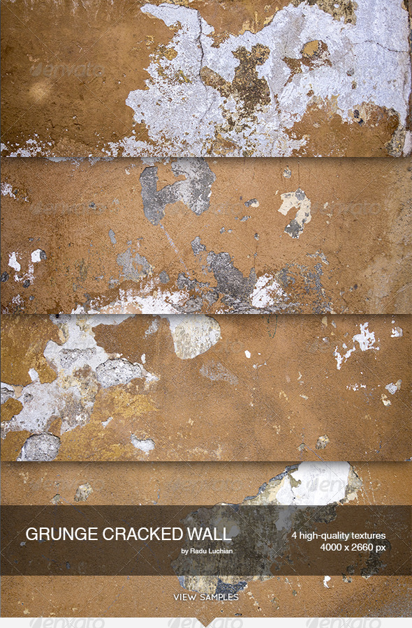 GraphicRiver 4 Grunge Cracked Wall Textures 5976993
