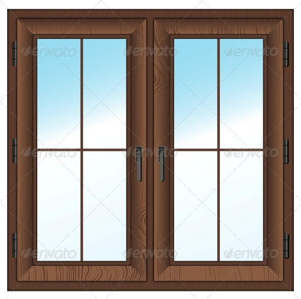 GraphicRiver Wooden Closed Double Window 5977018