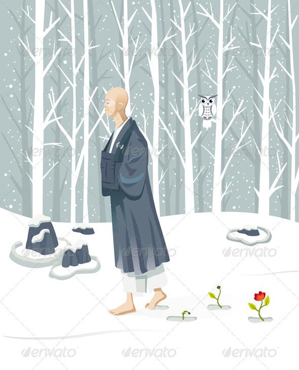 GraphicRiver Zen Monk Walking 5977479
