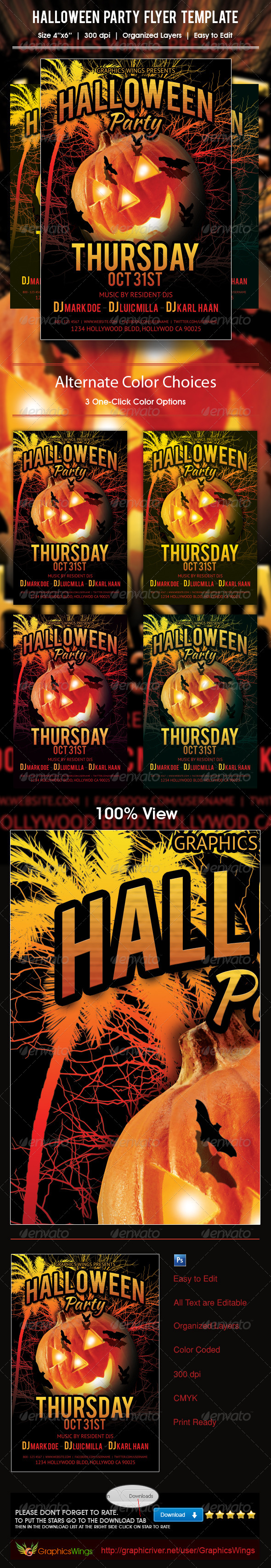 GraphicRiver Halloween Party Flyer Template 5935860