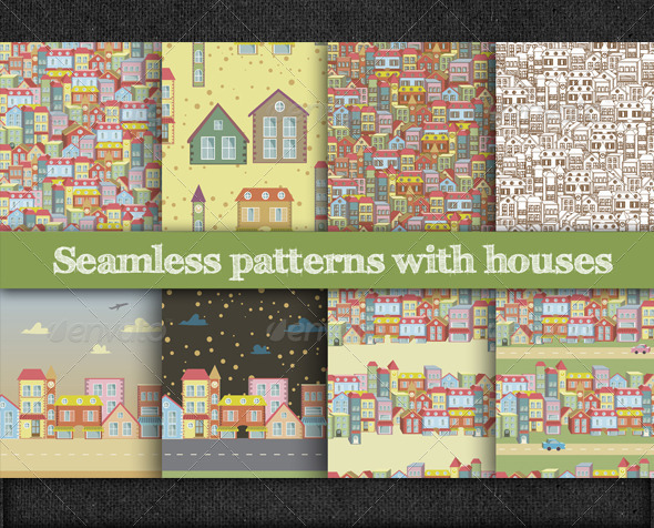GraphicRiver Seamless Patterns with Houses 5979257