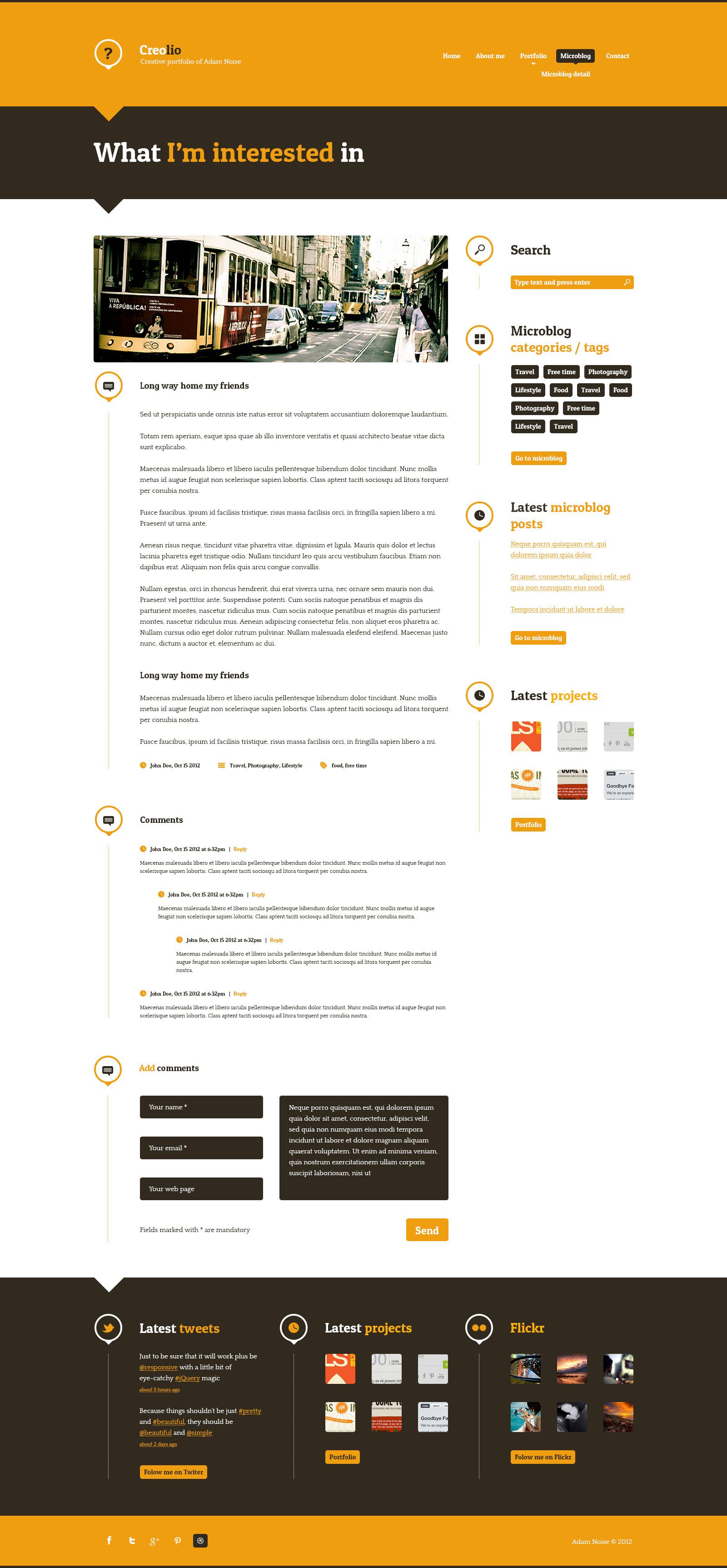 Creolio - Personal portfolio and microblog HTML