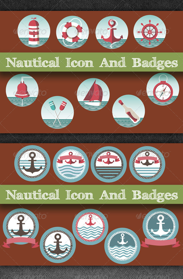 GraphicRiver Nautical Icon And Badges 5979400