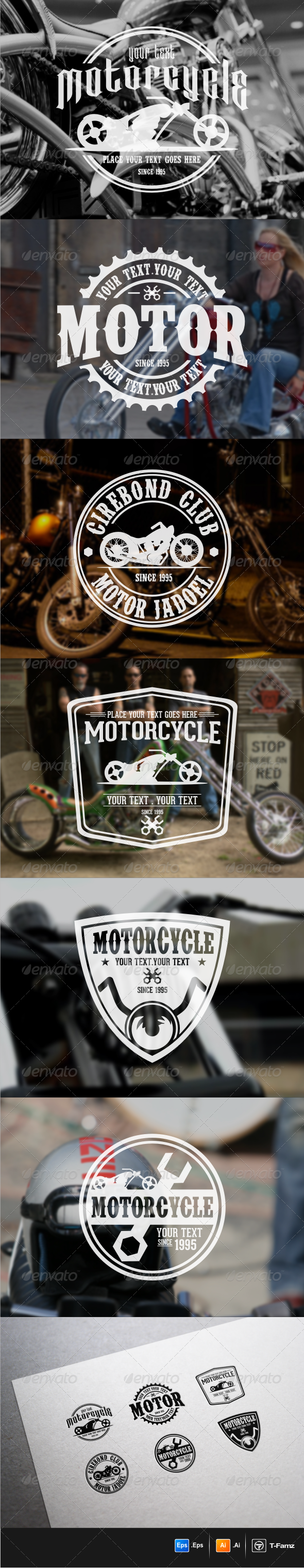 Motorcycle Badges  - Badges & Stickers Web Elements