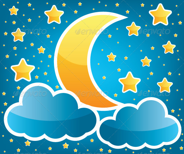 GraphicRiver Moon and Stars Illustration 5979483