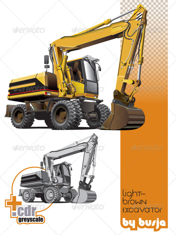 Light-brown excavator - Industries Business