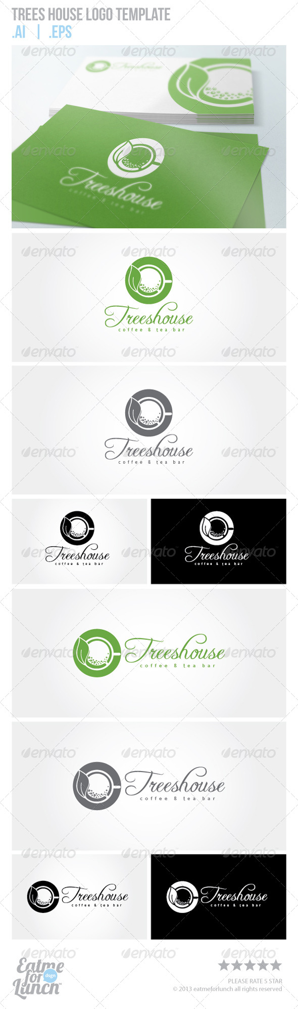 GraphicRiver Trees House Green Coffee and Tea Logo Template 5979657