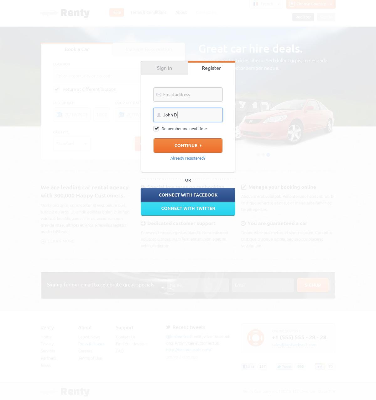 Renty - Car Rental & Booking HTML5 Template