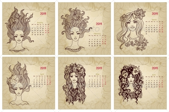 GraphicRiver Vintage Style 2014 Year Vector Calendar Part 1 5980080