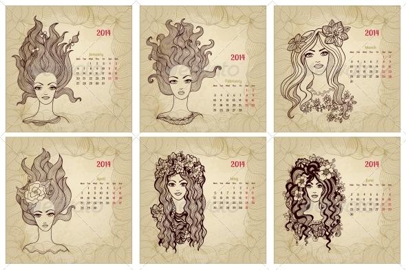 Vintage Style 2014 Year Vector Calendar Part 1