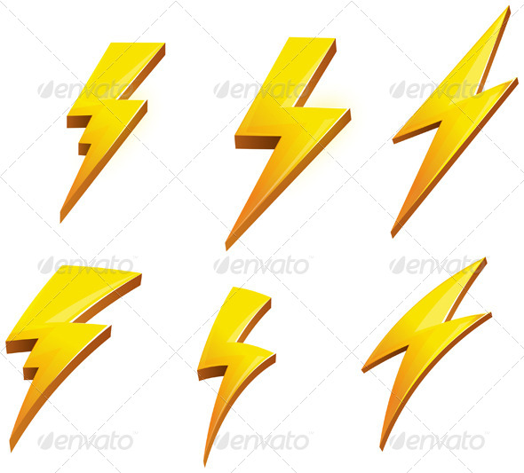 GraphicRiver Lightening Bolt Set Illustration 5980105