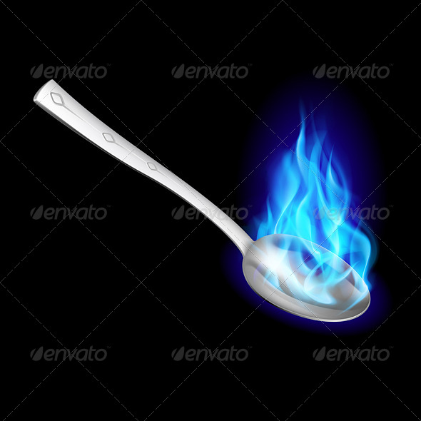 GraphicRiver Metal Spoon with Blue Fire 5980227