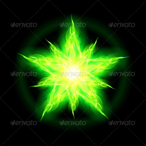 GraphicRiver Green Fire Star 5980228