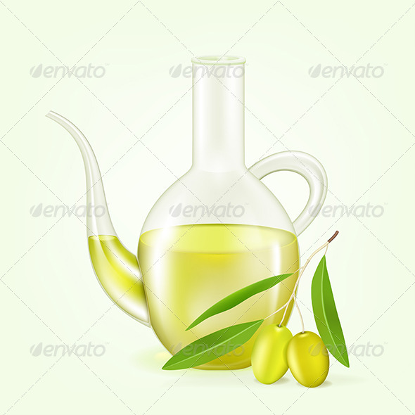 GraphicRiver Branch with Olives and a Bottle of Olive Oil 5980399