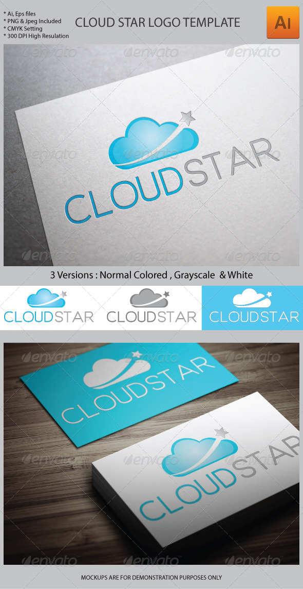 GraphicRiver Cloud Star Logo Template 5972517