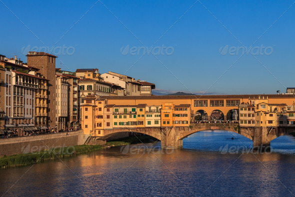Ponte Vecchio Bridge, Italy - Stock Photo - Images