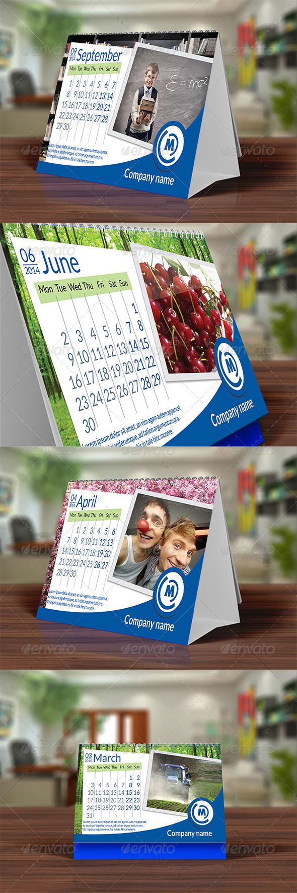 GraphicRiver Desk Calendar 2014 Blue 5980708