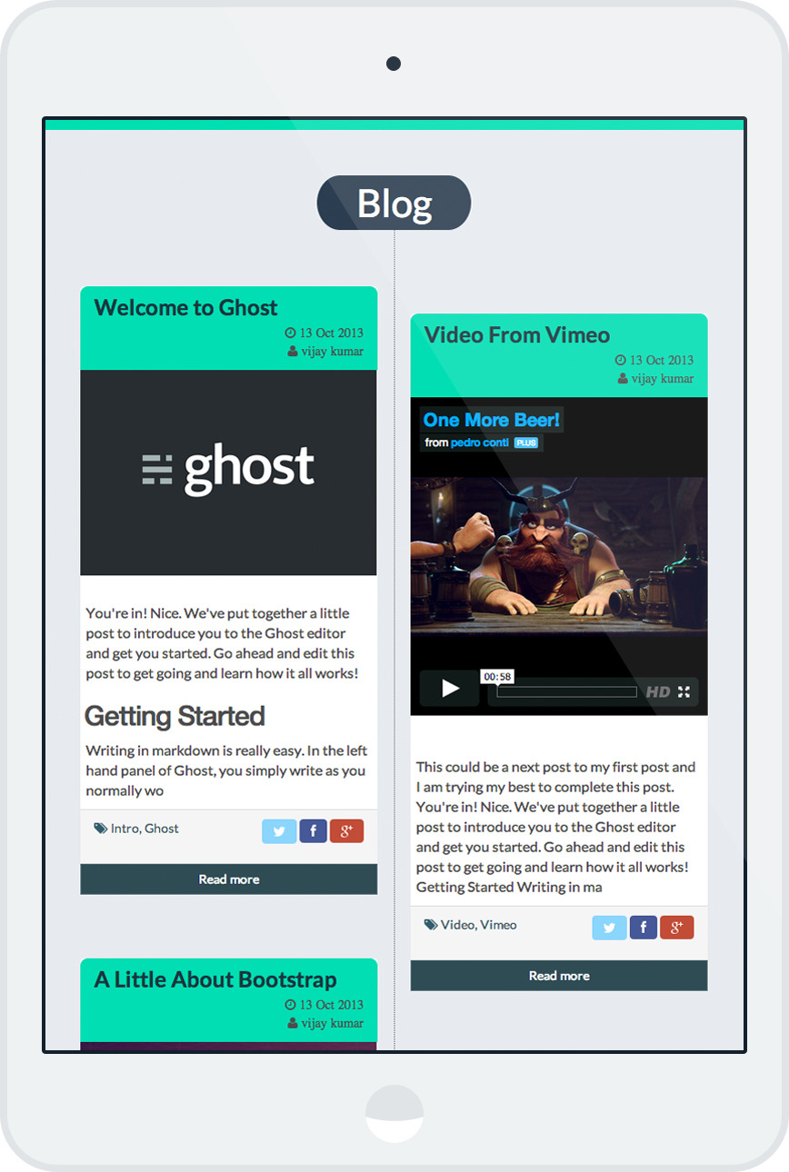 Banshee Flat Responsive Ghost Blogging Template