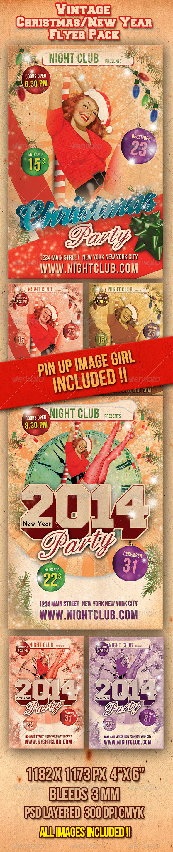 Vintage Christmas / 2012 New Year Flyers Pack - Clubs & Parties Events
