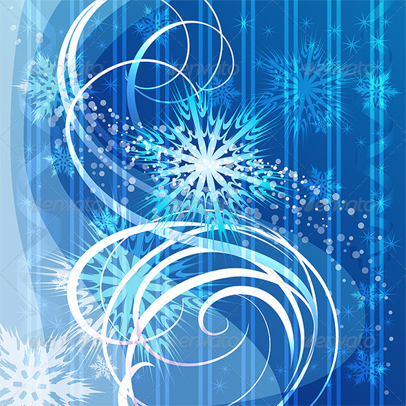 GraphicRiver Christmas Blue Background with Snowflakes 5981215