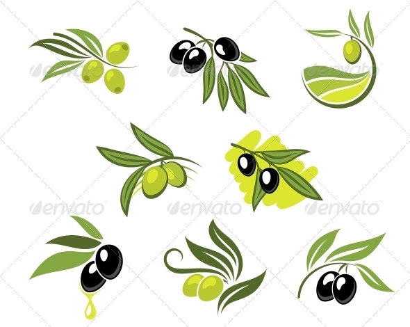 GraphicRiver Green and Black Olives Set 5981379