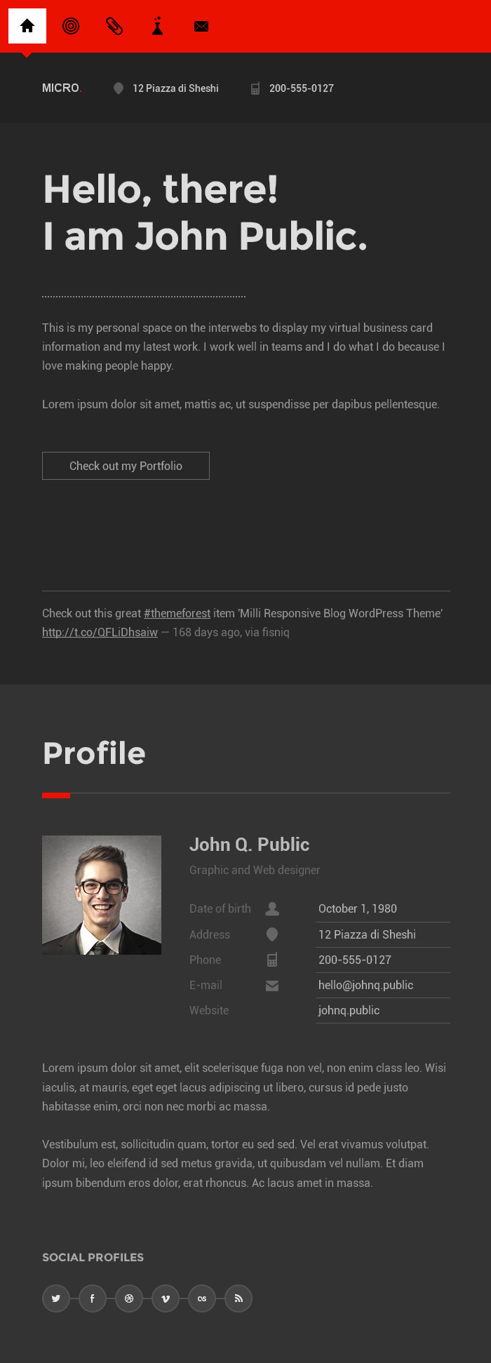 Micro - One Page Resume vCard WordPress Theme