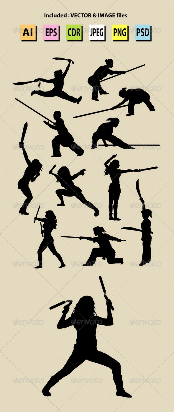 Girl with Weapon Silhouettes - Sports/Activity Conceptual