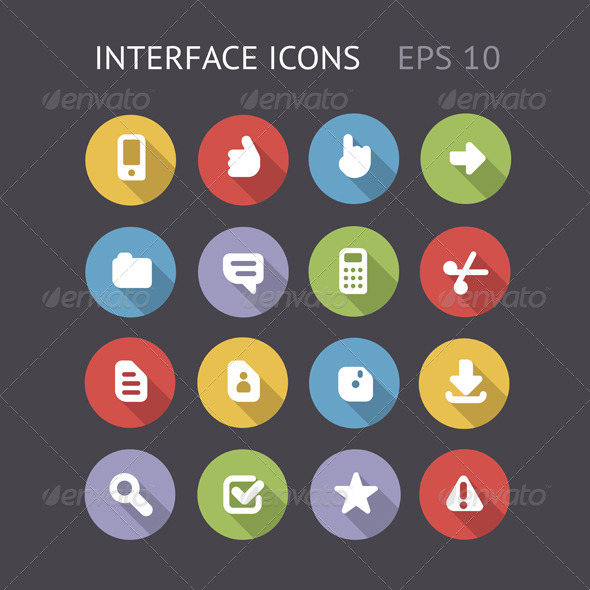 GraphicRiver Flat Icons For Interface 5982787