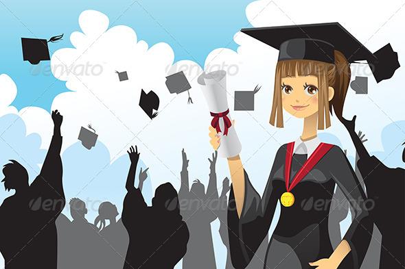 GraphicRiver Graduation Girl holding Diploma 5982805