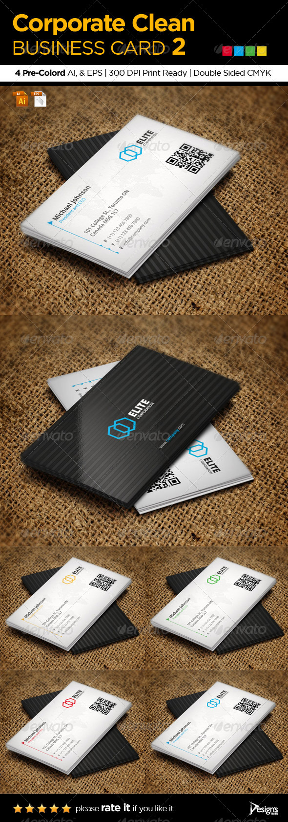 Corporate Clean Business Card 2 - Corporate Business Cards