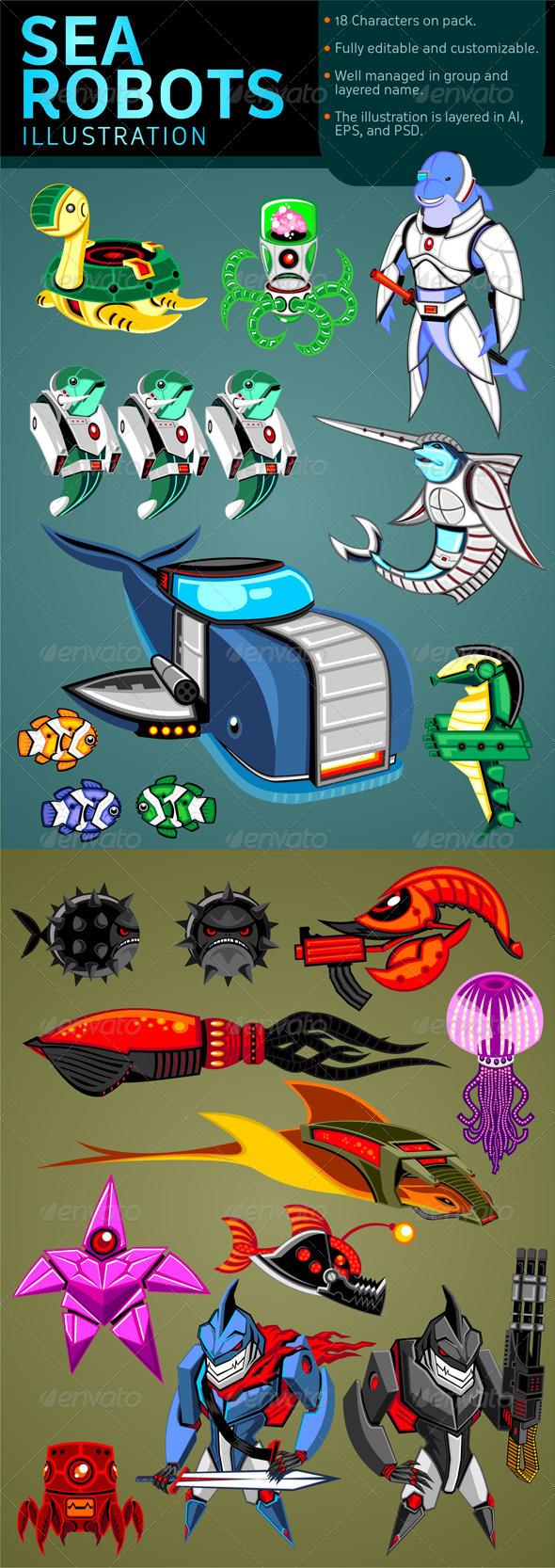 GraphicRiver Sea Robots Illustration 5983328