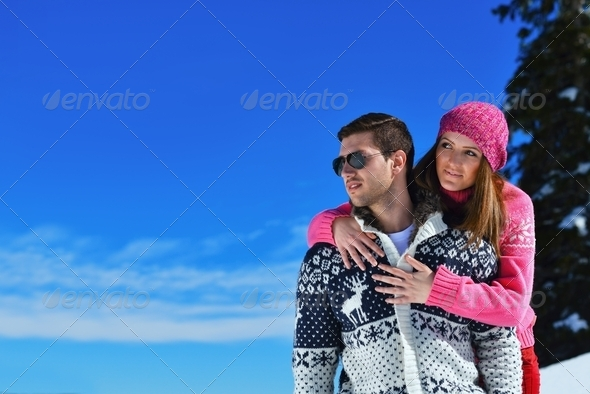 Young Couple In Winter  Snow Scene - Stock Photo - Images