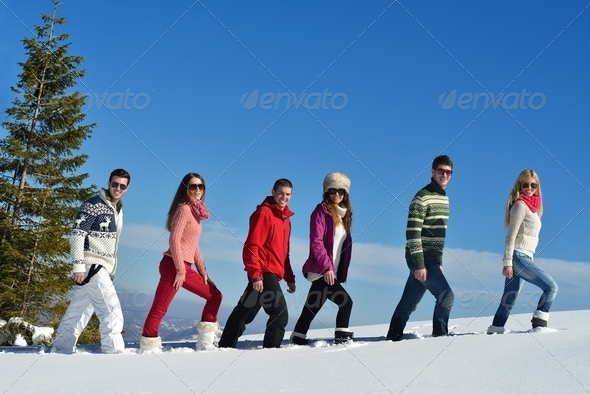 winter fun with young people group - Stock Photo - Images