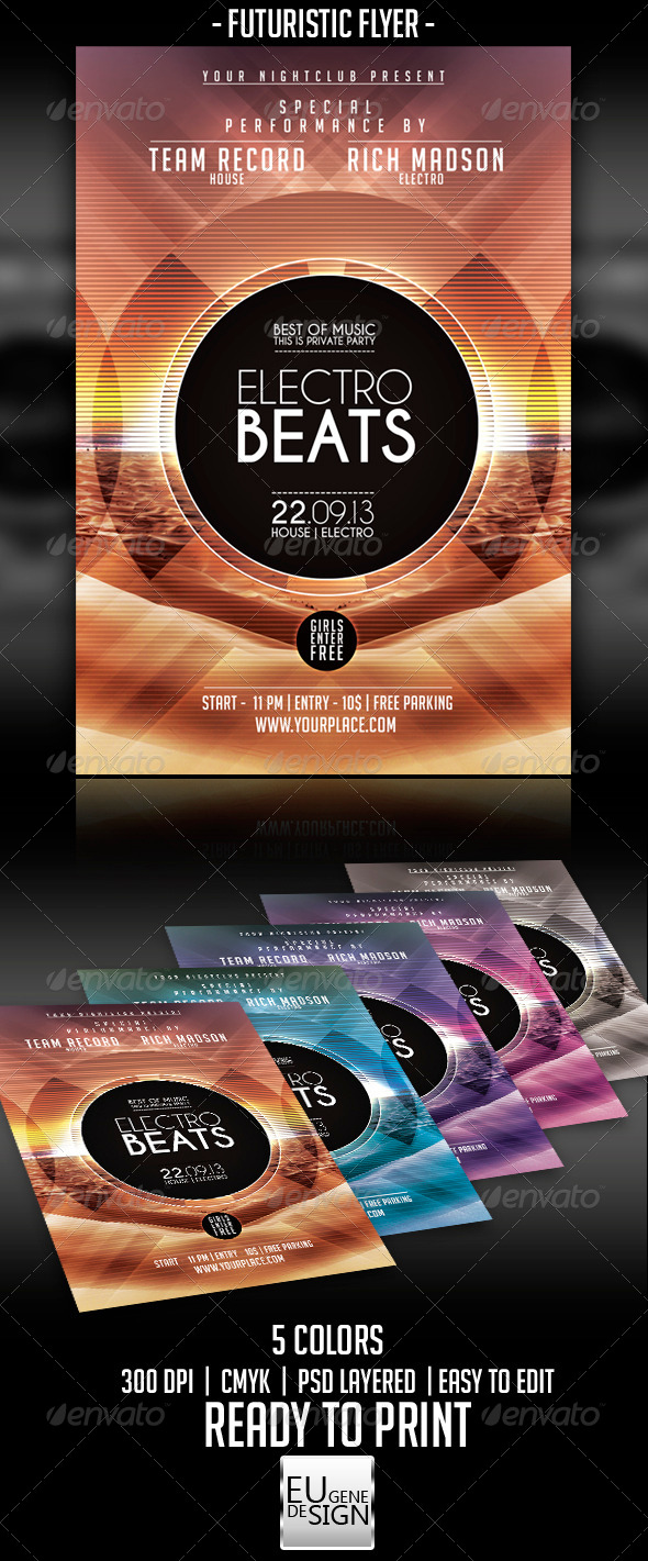Futuristic Flyer Template - Clubs & Parties Events
