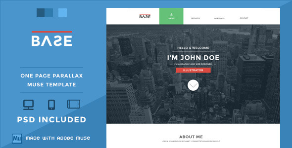 ThemeForest Base One Page Parallax Muse Theme 5785325