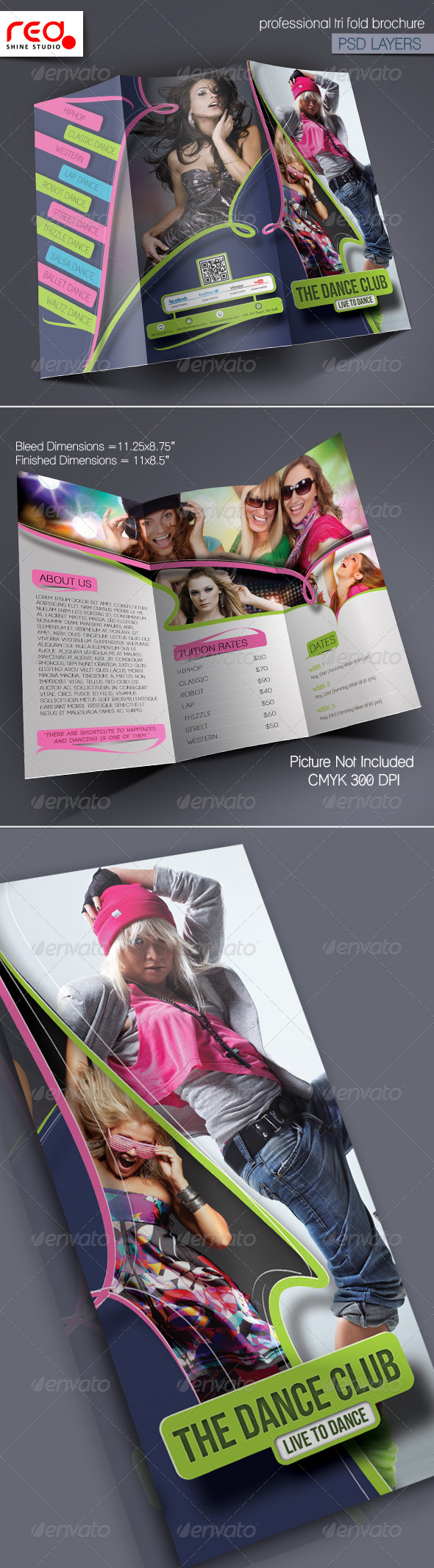 Dance Academy Trifold Brochure Template 2