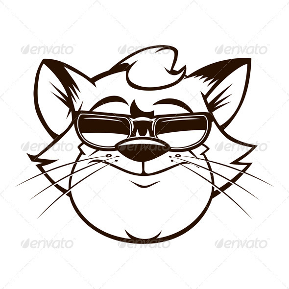 GraphicRiver Cartoon Fat Cat Face with Sunglasses 5984715